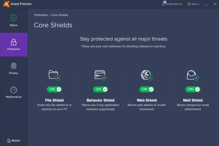 Avast Premium Security, Avast Core Shields.