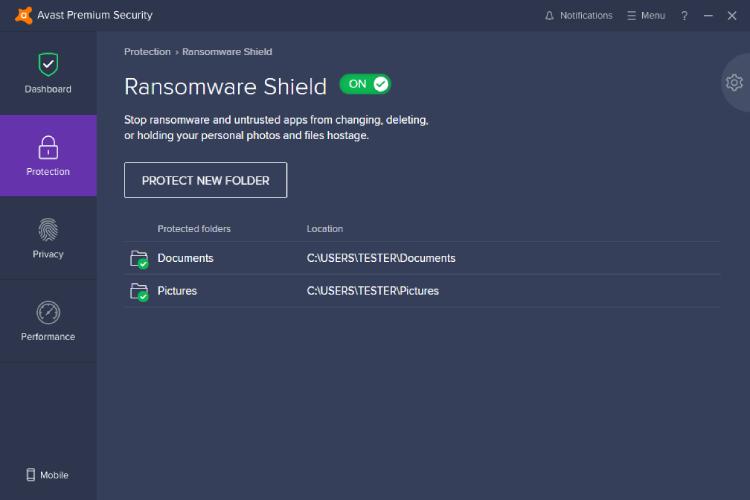 Avast Ransomware Shield.