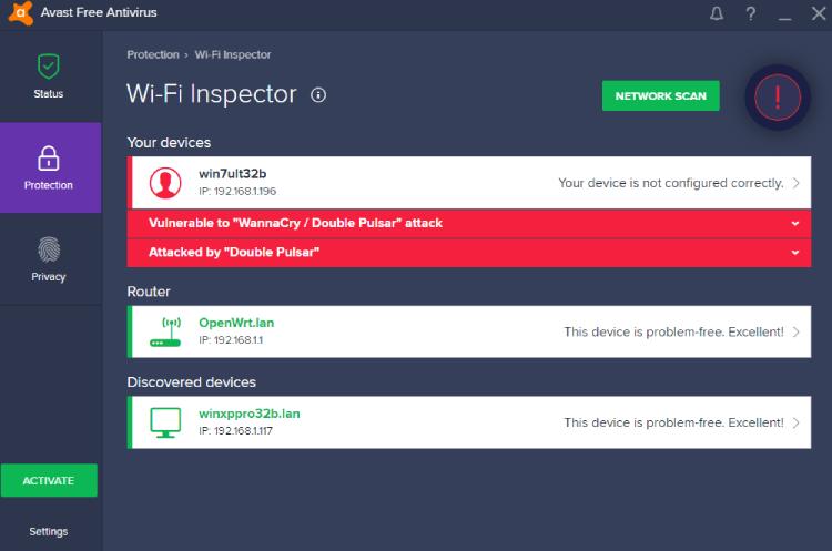 Inspector de Avast Wi-Fi.