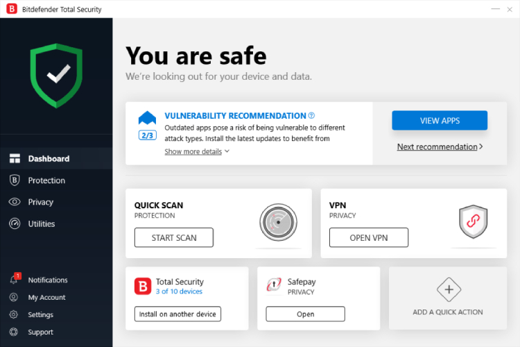 Pantalla principal de Bitdefender Total Security.