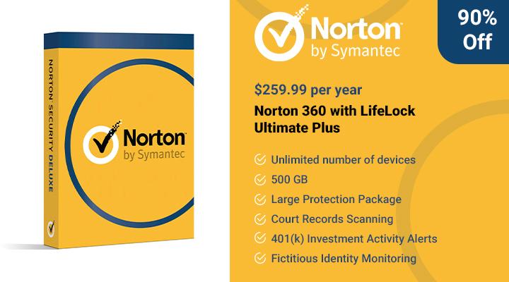 Norton 360 con la oferta LifeLock Ultimate Plus.