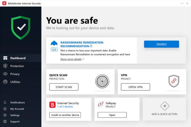 Bitdefender Internet Seguridad 2021.