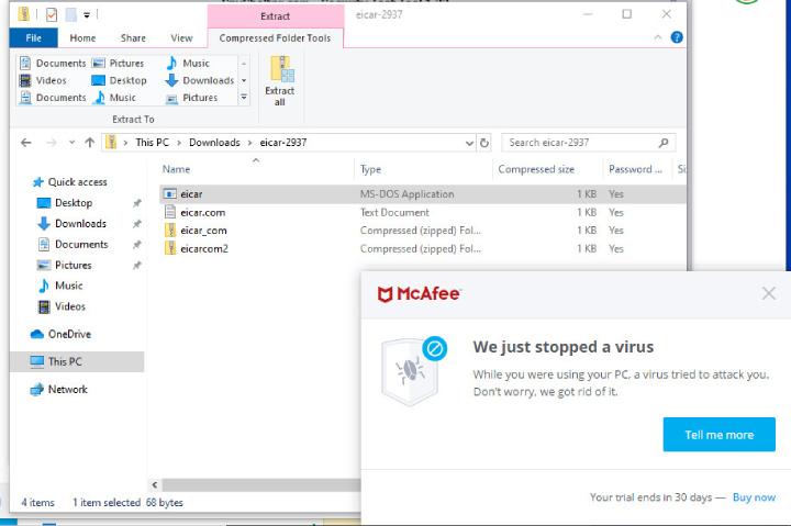 El antivirus de McAfee encuentra una amenaza.