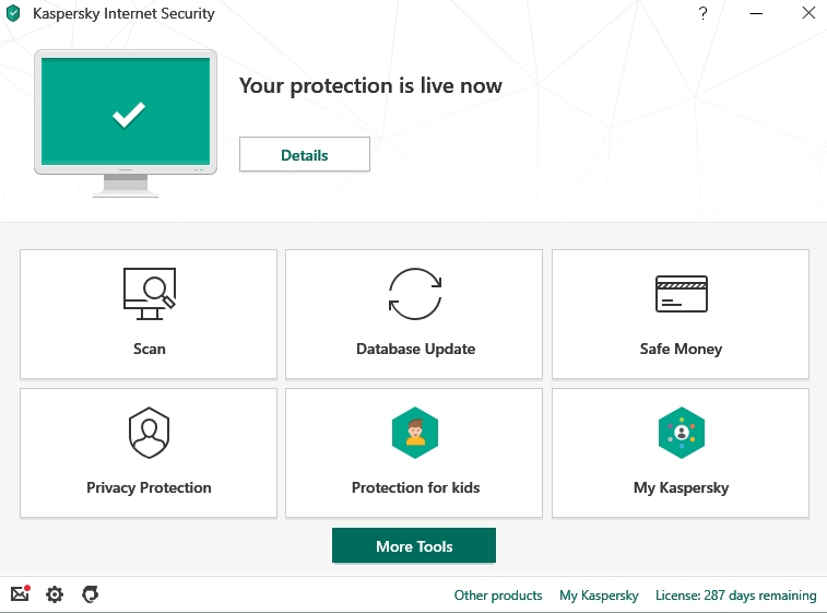 Seguridad de Internet de Kaspersky, interfaz de Kaspersky Lab.
