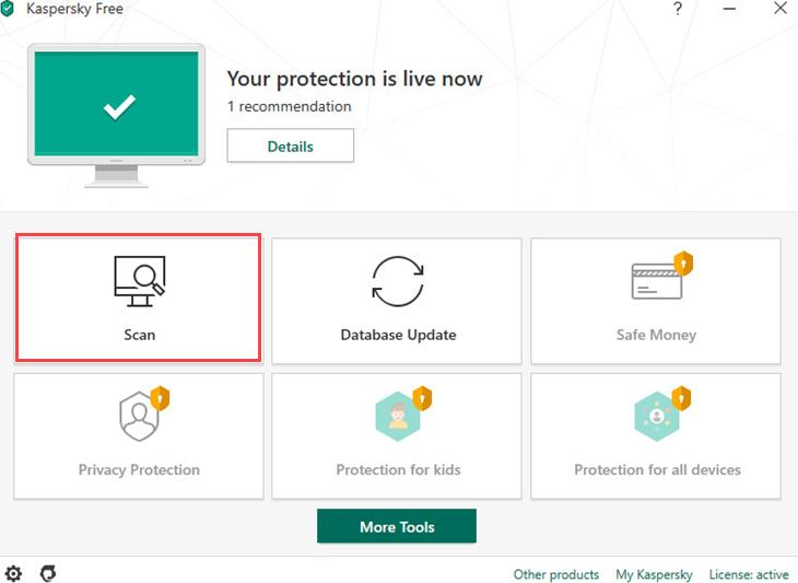 Tablero libre de Kaspersky Antivirus.
