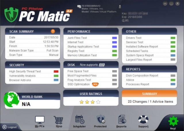 Pantalla principal del PC Matic.