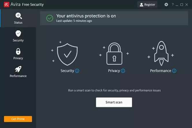 Avira Free Security Dashboard.