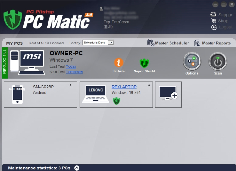 Tablero del Antivirus PCMatic.