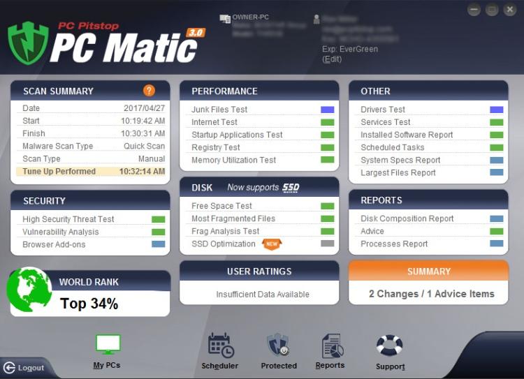 Características adicionales de PC Matic Antivirus.