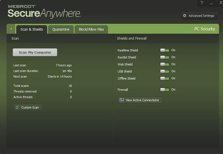 Características de escaneo de Webroot.