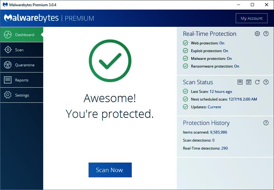 Malwarebytes Premium Tablero de mandos.