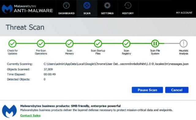 Los escaneos de amenazas de Malwarebytes Premium.