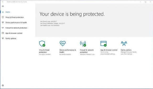 Antivirus integrado en Windows 10, Windows Defender