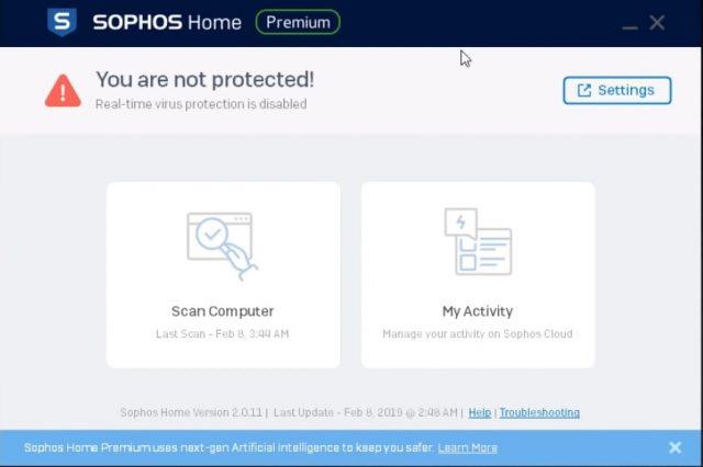 Interfaz del antivirus de Sophos