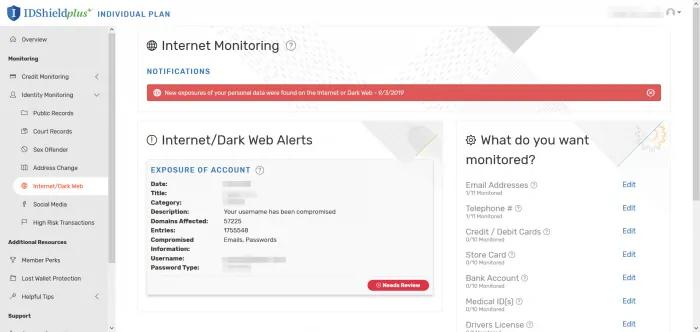 ID Shield, la mejor protección contra el robo de identidad, alertas de web oscura.