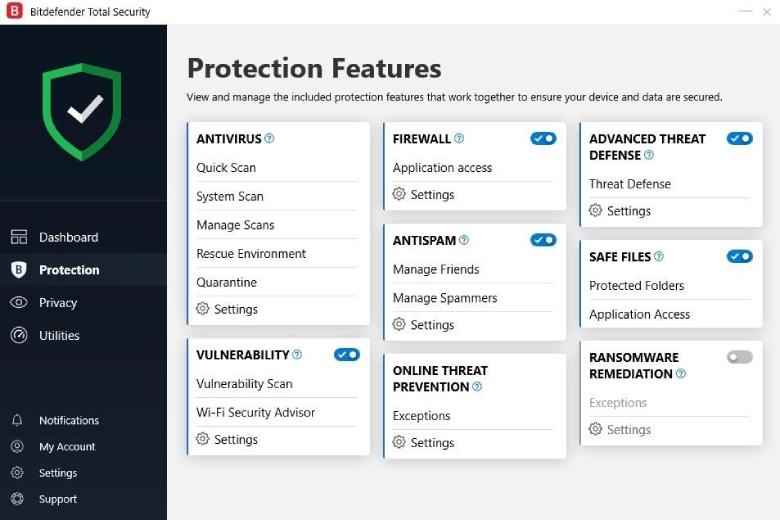 Características de protección de Bitdefender.