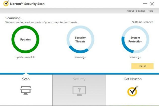 Escaneo antivirus Norton, protección contra malware, rendimiento del sistema