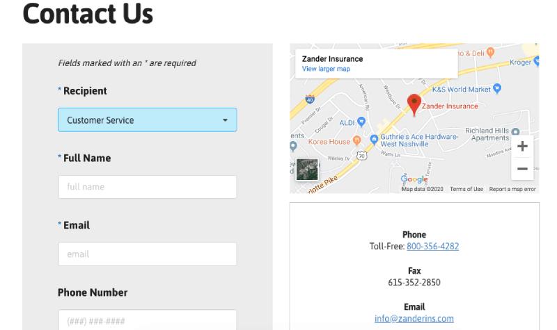 Página de apoyo y contacto del seguro de Zander.