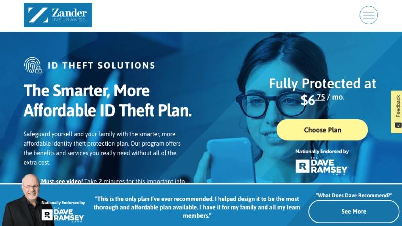Sitio web y características de protección de ID de Zander Insurance.