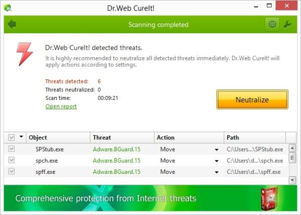 Escaneo del Dr. Web CureIt.