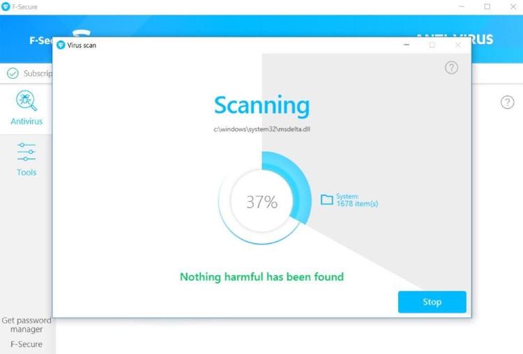 Características del escaneo F-Secure.